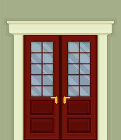 Double Door with Glass Window and Doorknob as Building Entrance Exterior Vector Illustration Ilustración de vector