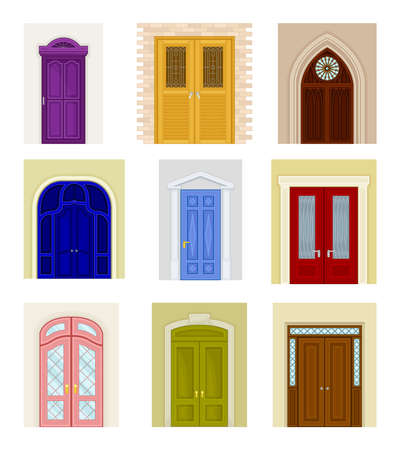 Ancient and Modern Doors as Hinged Movable Barrier Vector Set