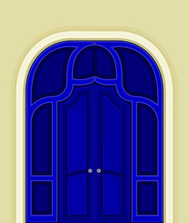 Arched Blue Double Door as Building Entrance Exterior Vector Illustration Ilustración de vector