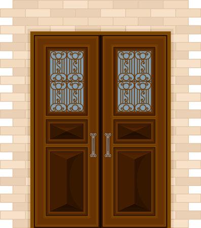 Wooden Double Door with Ornamental Window and Doorknob as Building Entrance Exterior Vector Illustration