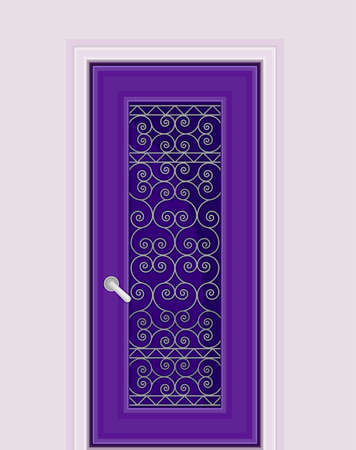 Dark Purple Door with Tracery Ornate as Building Entrance Exterior Vector Illustration Ilustración de vector