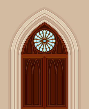 Gothic Double Door with Pointed Arch and Circle Window as Ancient Building Entrance Exterior Vector Illustration