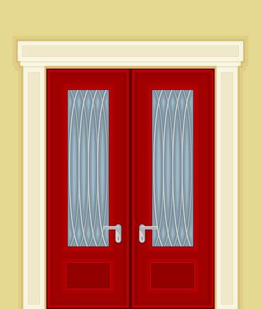 Double Door with Ornamental Window and Doorknob as Building or Room Entrance Exterior Vector Illustration Ilustración de vector