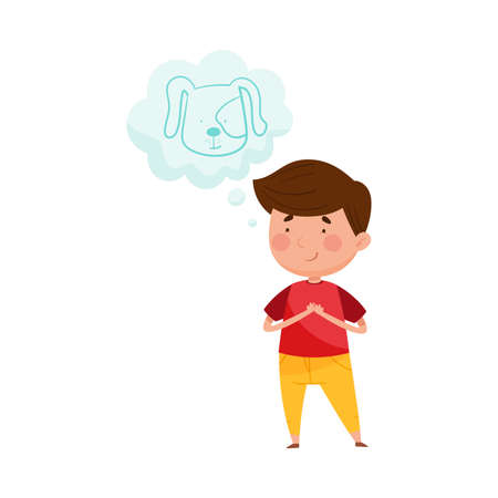 Smiling Red Cheeked Boy Standing and Dreaming about Puppy Vector Illustration