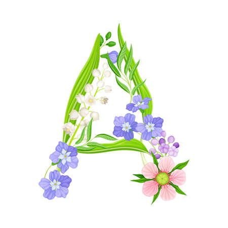 Capital Alphabet Letter Composed of Flowers and Decorative Nature Elements Vector Illustration