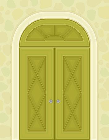 Green Double Door with Rhombus Ornament as Building Entrance Exterior Vector Illustration Ilustración de vector