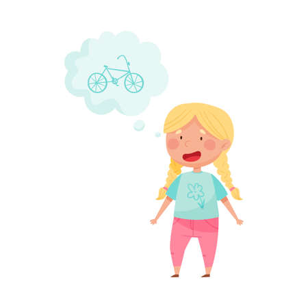 Smiling Red Cheeked Girl Standing and Dreaming about Bicycle Vector Illustration