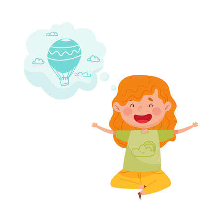Pretty Red Cheeked Girl Sitting on the Floor and Dreaming about Air Balloon Vector Illustration