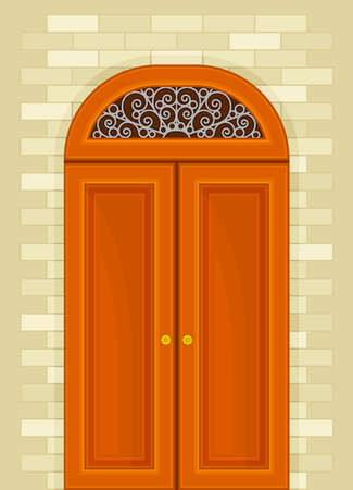 Arched Orange Double Door with Tracery as Building Entrance Exterior Vector Illustration