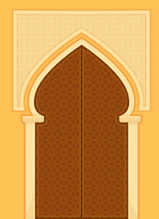 Islamic Door Decorated with Geometric Patterns as Building Entrance Exterior Vector Illustration