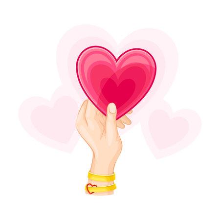 Red Heart in Human Hand as Romantic Feeling Symbol Vector Illustration