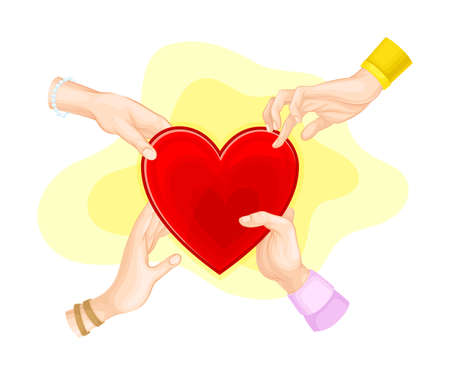 Human Hands Holding and Touching Red Heart as Love and Affection Sign Vector Illustration