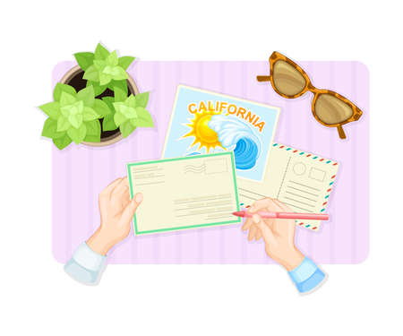 Human Hands Writing Letter and Signing Postal Card at Table Above View Vector Illustration