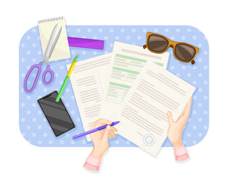 Human Hands Signing Document at Desk with Notepad and Smartphone Rested on It Vector Illustration 向量圖像