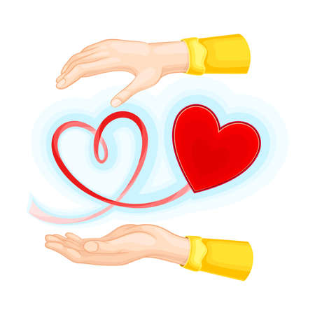 Outstretched Arm and Red Heart Shape as Love and Fondness Symbol Vector Illustration Ilustração