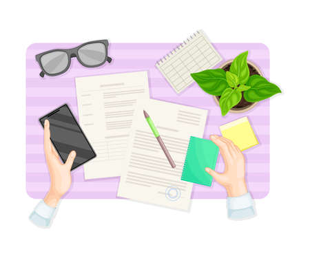 Human Hands Signing Document and Filling up Form at Desk with Notepad and Smartphone Rested Nearby Vector Illustration