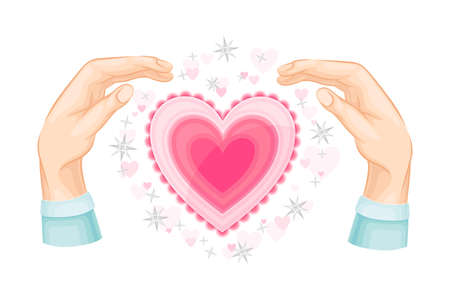 Human Hands and Pink Heart with Twinkling Stars Around as Love and Affection Sign Vector Illustration