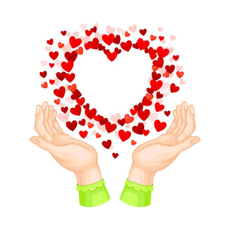 Human Hands and Explosion of Red Hearts as Love and Affection Sign Vector Illustration Çizim