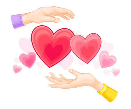 Red Hearts and Male and Female Outstretched Hand as Love and Affection Sign Vector Illustration