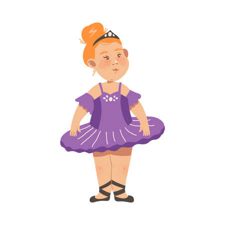 Little Freckled Girl in Tutu Skirt Performing Ballet Dancing Pas Vector Illustration. Little Kid Moving to Music and Stepping Classic Dance Concept