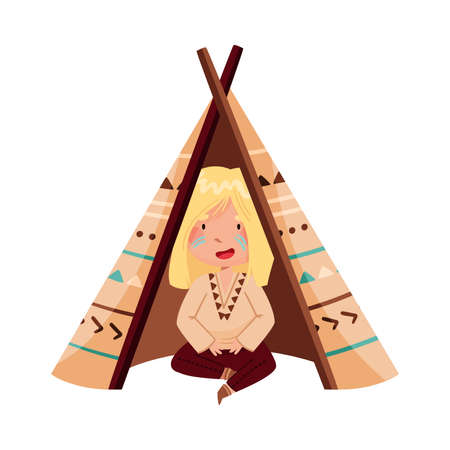 Cute Girl with Indian War Paint on Her Face and Ethnic Costume Sitting in Wigwam Vector Illustration