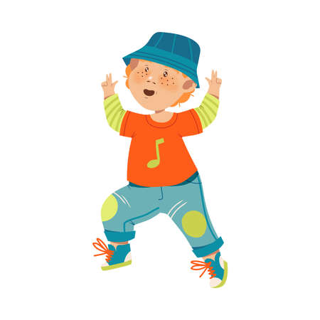 Funny Boy Dancing and Moving to Music Vector Illustration