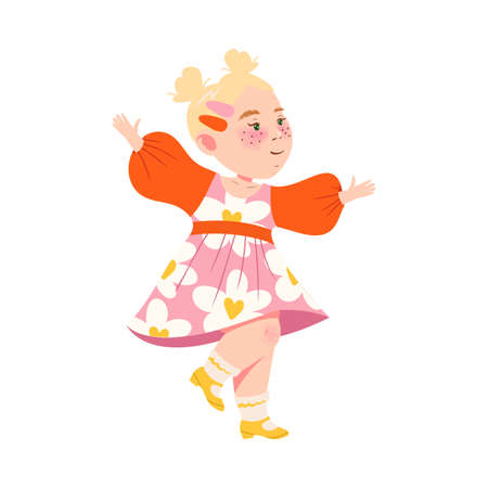 Cute Girl with Blond Hair Dancing and Moving to Music Vector Illustration