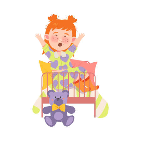 Red Haired Girl Character Waking Up and Yawning in the Morning Vector Illustration