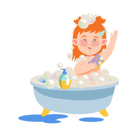 Red Haired Girl Character Sitting in Bathtub and Bathing with Soap Vector Illustration