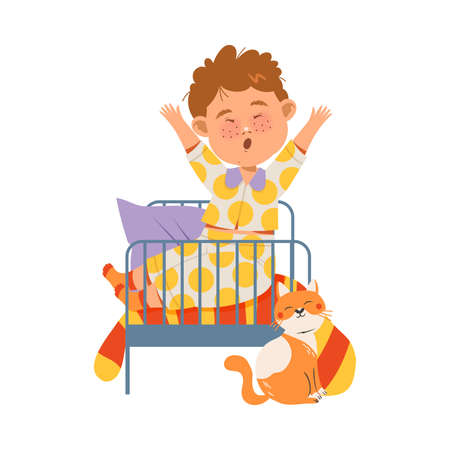 Cute Freckled Boy Waking Up and Yawning in the Morning Vector Illustration
