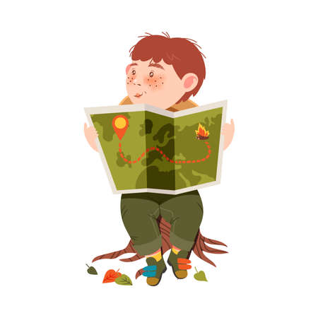 Cute Boy as Junior Scout Sitting on Stub and Examining Map Vector Illustration