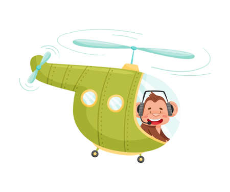Funny Monkey with Protruding Ears Flying the Aircraft Vector Illustration