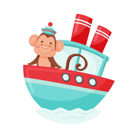 Funny Monkey with Protruding Ears and Cap Sailing Ship Vector Illustration