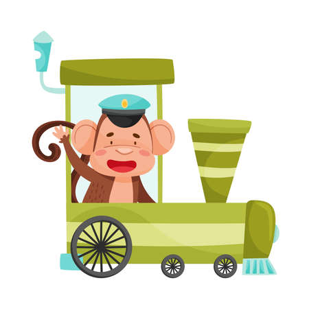 Funny Monkey with Protruding Ears Riding Train Vector Illustration