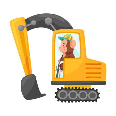 Funny Monkey with Protruding Ears Driving Excavator Vector Illustration