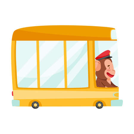 Cute Monkey Bus Driver with Protruding Ears Driving Public Transport Vector Illustration