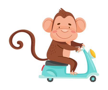 Cute Monkey with Protruding Ears Driving Scooter Vector Illustration