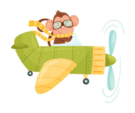 Funny Monkey with Protruding Ears Wearing Scarf and Flying the Aircraft Vector Illustration 向量圖像