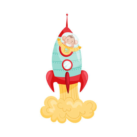 Cheerful Ape Character on Board of Space Rocket Vector Illustration