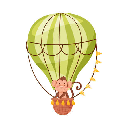 Cheerful Ape Character on Board of Air Balloon Vector Illustration