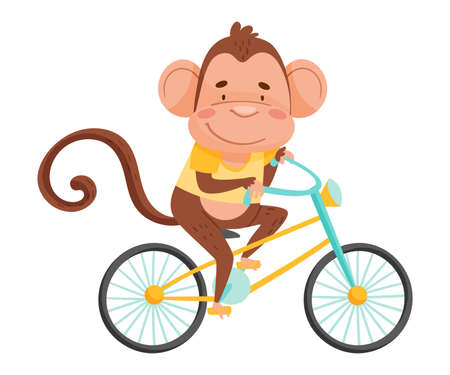 Joyful Monkey with Long Tail Riding Bicycle Vector Illustration