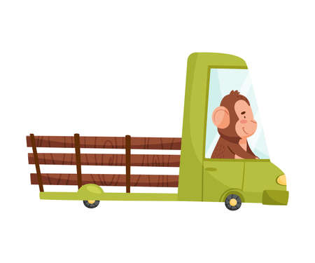 Happy Ape Driving Automobile with Cargo Body Vector Illustration 向量圖像
