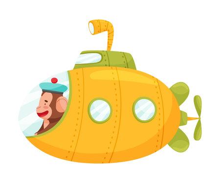 Happy Ape in Submarine Ship Swimming Underwater Vector Illustration