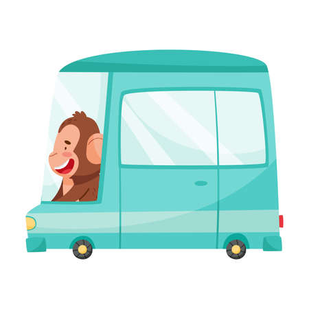 Smiling Monkey with Protruding Ears Driving Van or Mini Bus Vector Illustration 向量圖像
