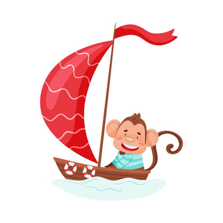 Funny Monkey with Protruding Ears and Cap Sailing Boat Vector Illustration