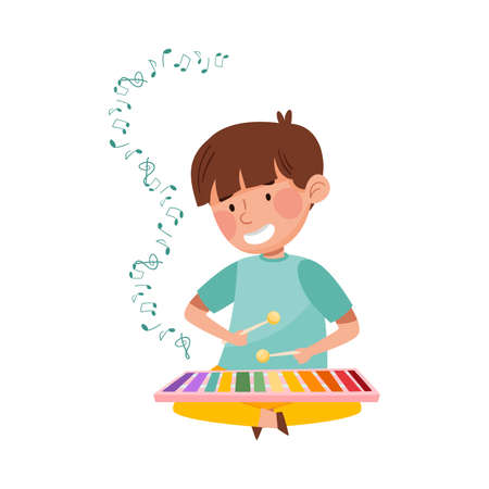 Little Boy Sitting on Floor with Sticks and Playing Xylophone Vector Illustration Vettoriali