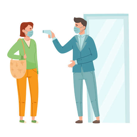 Man in Medical Face Mask Measuring Woman Temperature with Thermometer Before Entry Vector Illustration
