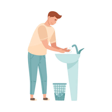 Man Standing at Wash Stand and Washing His Hands Vector Illustration