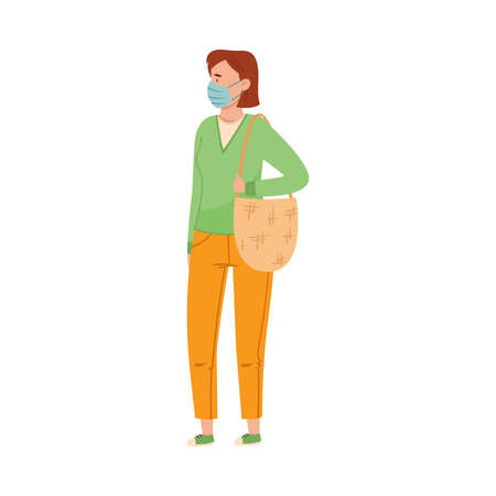 Woman in Protective Mask Walking Along the Street Vector Illustration Vecteurs