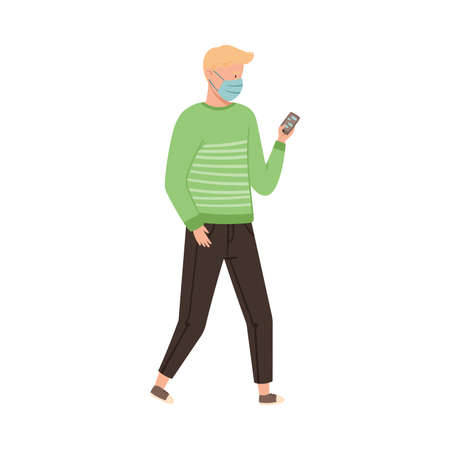 Man in Protective Mask Walking Along the Street Vector Illustration